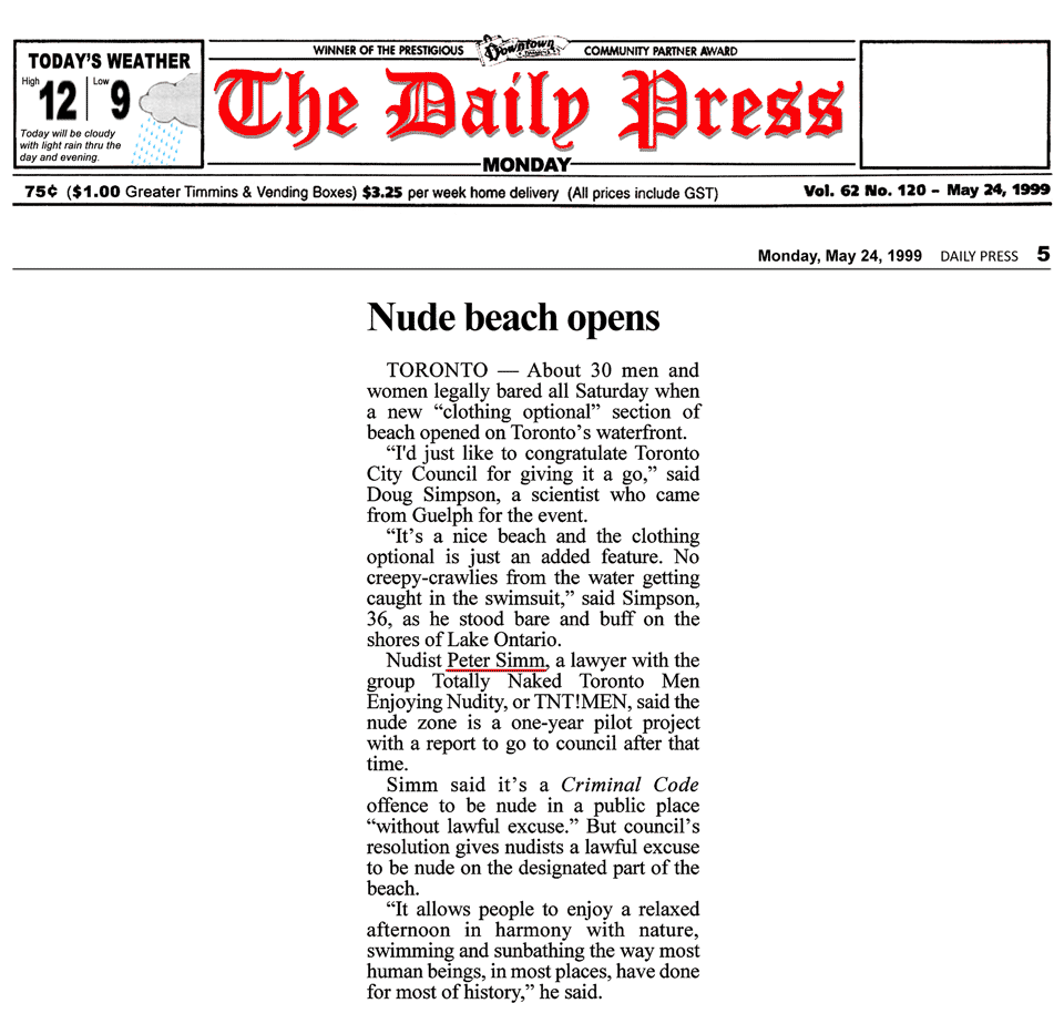 Timmins Daily Press 1999-05-24 - Hanlan's Point CO-zone pre-opens